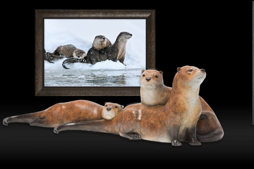 Bronze Sculpture of Ice Fishing - River Otters