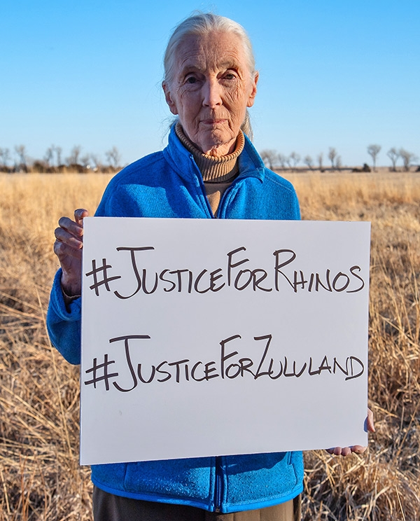 Dr. Jane Goodall stands for:  #JusticeForRhinos and #JusticeForZululand