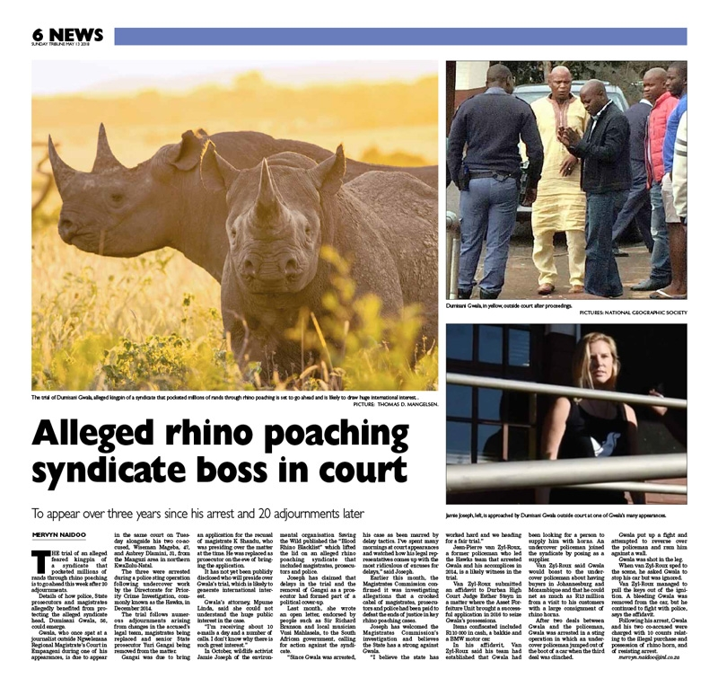 Alleged rhino poaching syndicate boss in court